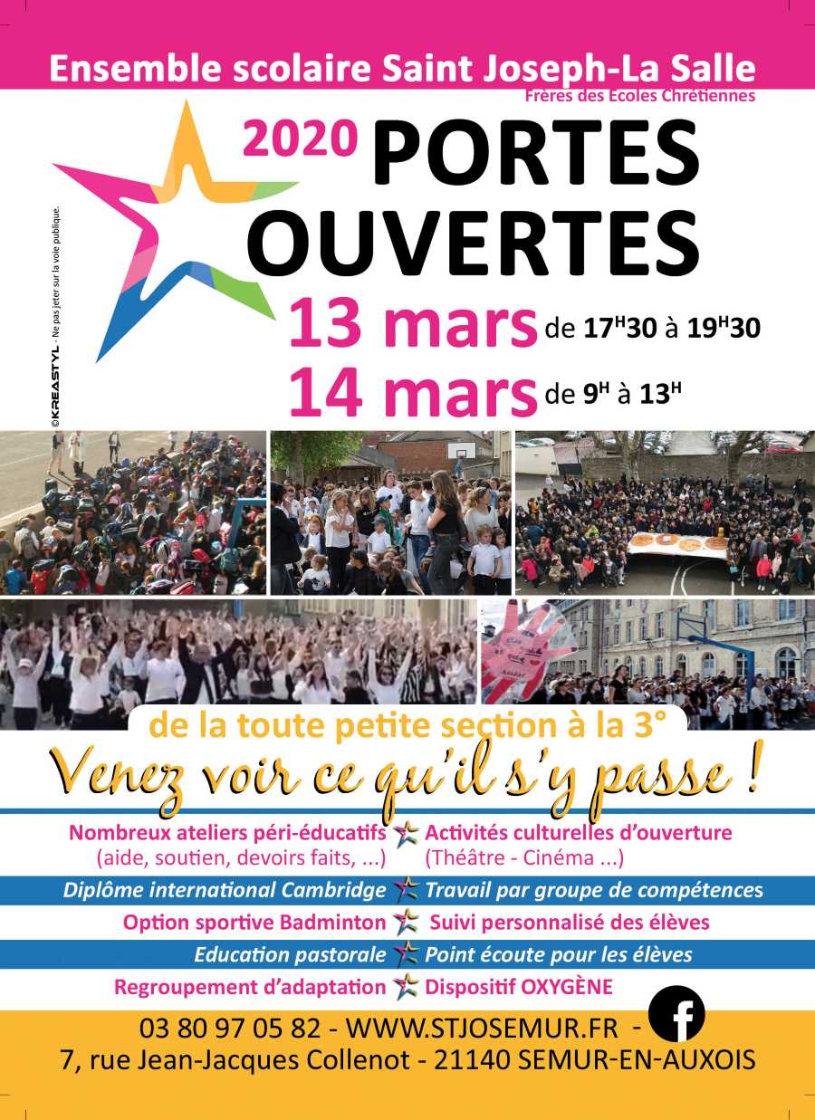 Portes ouvertes 13 et 14 mars 2020. Venez découvrir toutes les particularités de l'ensemble scolaire Saint-Joseph.